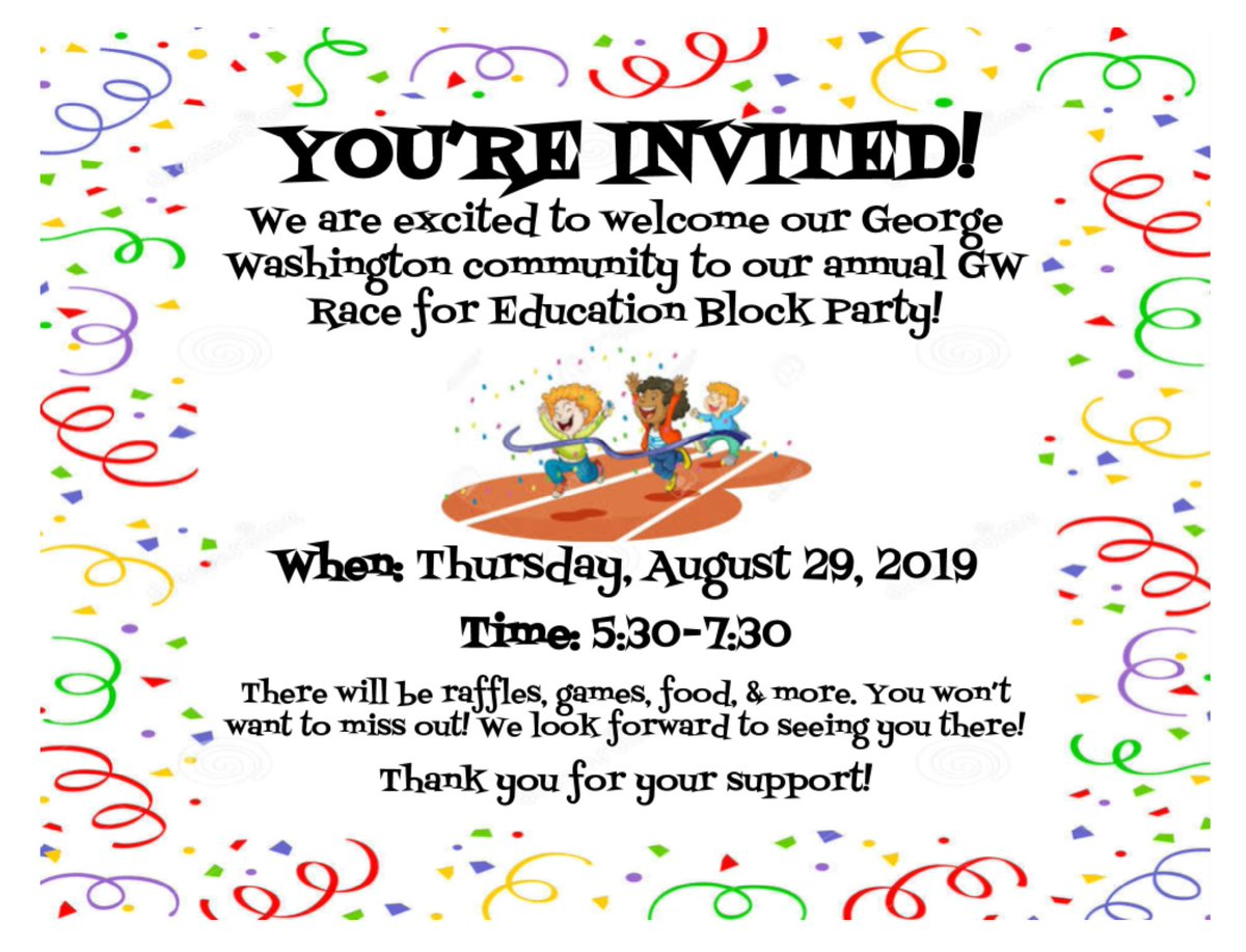 George Washington Elementary families, we hope you will join us this Thursday, August 29 for our annual GW Race for Education Block Party to officially kick off our fundraiser! There will be fun games for the kids and food available for purchase. We hope to see you! #WeRPrexies https://t.co/TuzBGmtEve