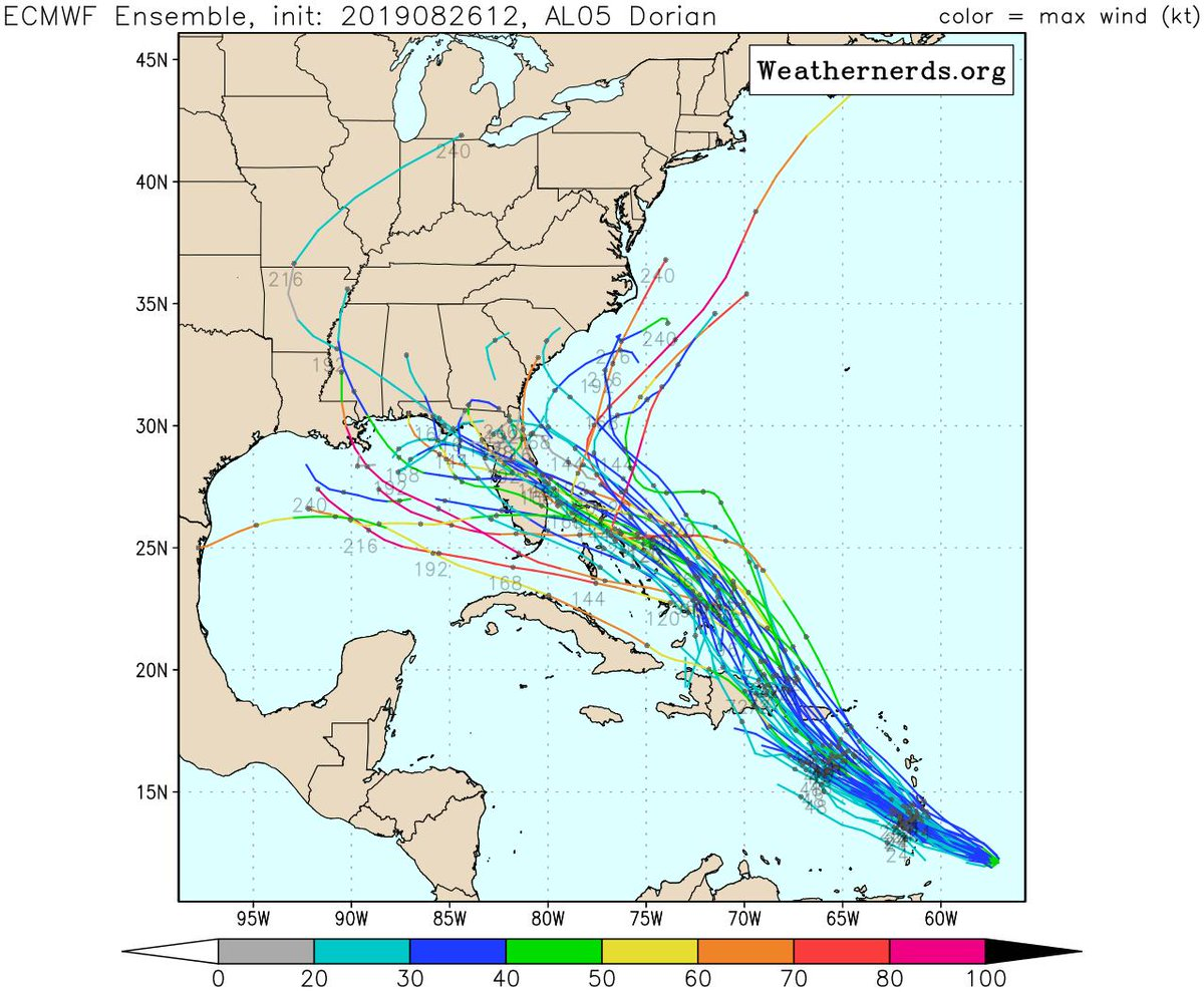Hurricane Tracker App On Twitter Here S The Latest Euro Model Ensemble Guidance For Ts Dorian Many Are In Agreement That Ts Dorian Could Be Trouble In The Long Term As We Head