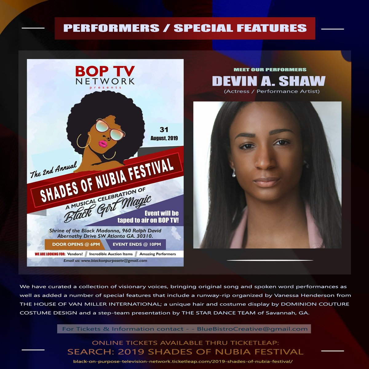 ITS THAT TIME AGAIN ATLANTA! The Shades of Nubia Festival is an amazing event that honors the creative genius and achievements of Black Women in the arts. ow.ly/AlP250vJkfd