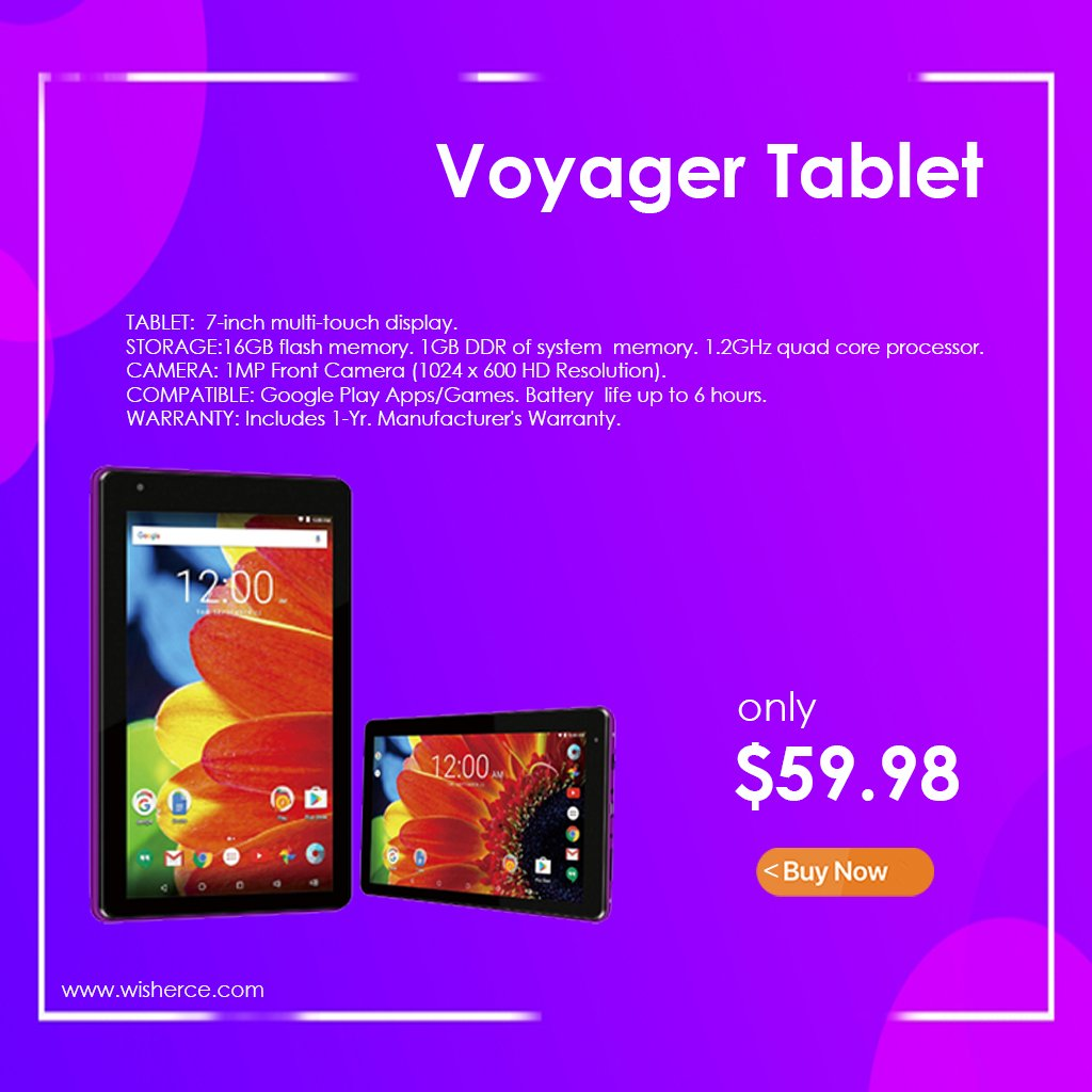 RCT6873W42 Purple RCA 7 Android Voyager Tablet with Bluetooth