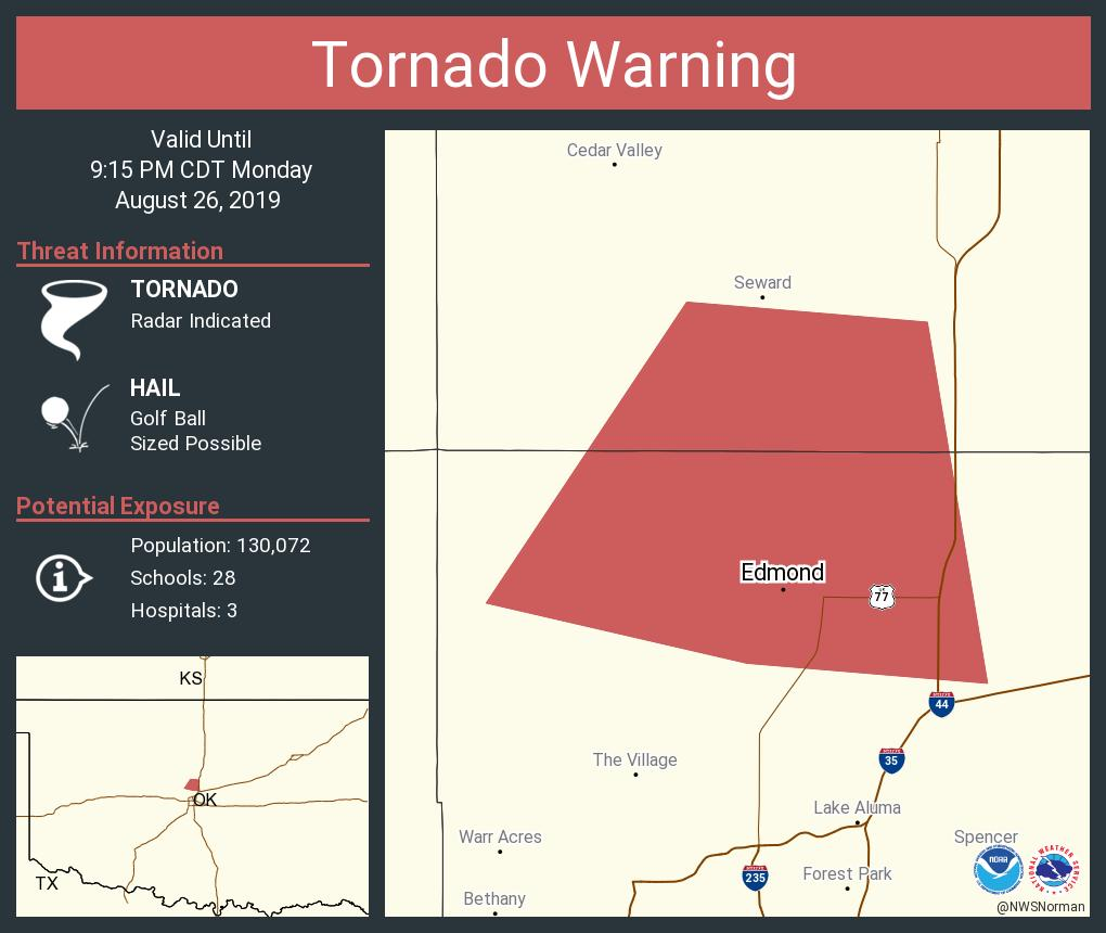 RT @NWStornado: Tornado Warning including Edmond OK until 9:15 PM CDT https://t.co/f0aTurtAUO