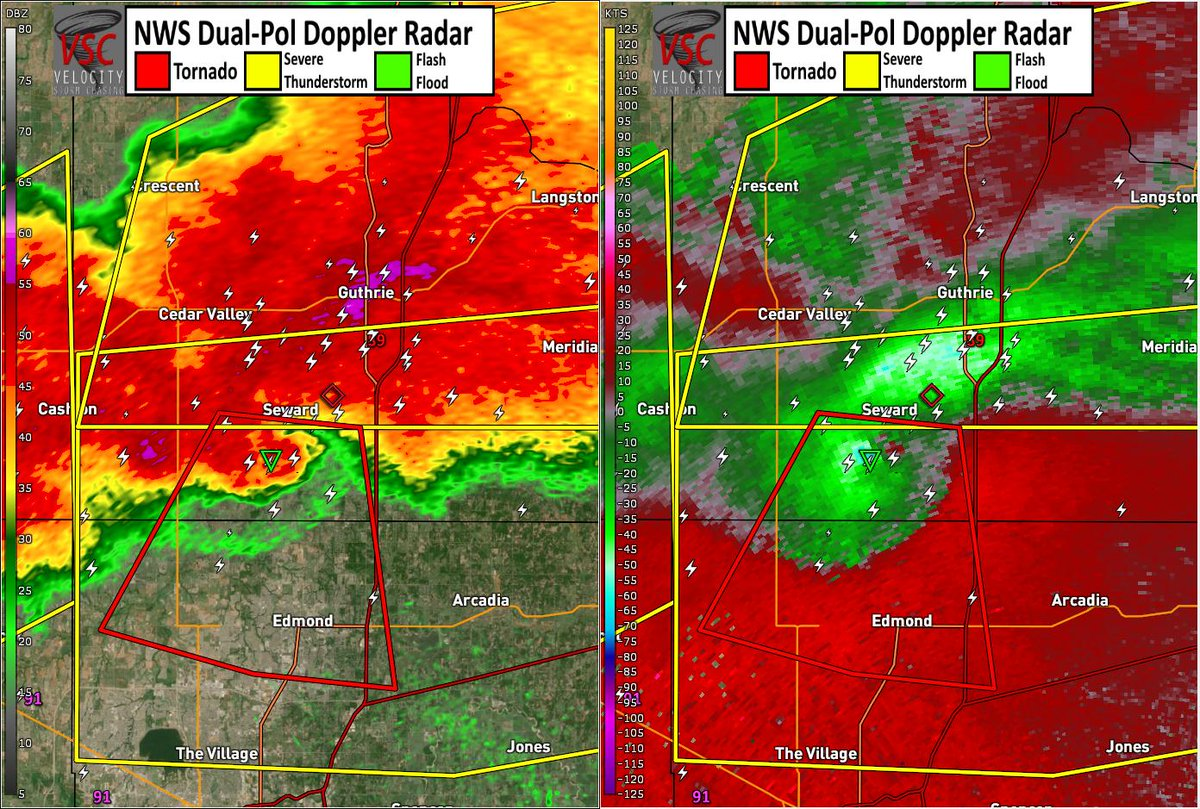 Possible tornado on radar about to cross the Logan/Oklahoma County #OKwx line south of Seward, moving south. Large hail likely as well. #severe #weather https://t.co/0EScz4Rid1