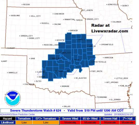 SEVERE STORM WATCH  to 12 AM CDT for MO KS OK & AR   A tornado or two possible 2.5