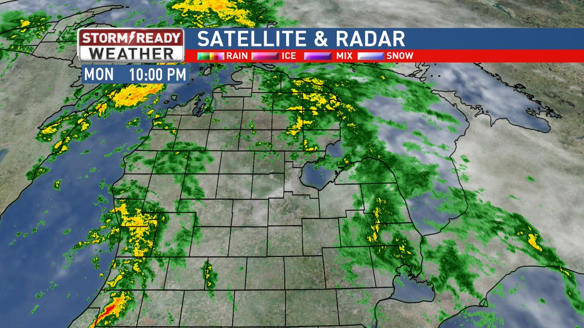 Here's a look at your Mid-Michigan satellite & radar. Your #StormReady Forecast https://t.co/8o5KFAWMlM #miwx @nbc25fox66 https://t.co/Mu2Hw6RjvC