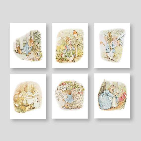 In the minouette shop: PETER RABBIT Nursery Wall Art Beatrix Potter Nursery Decor Storybook Baby Shower Theme Gift Set of 6 Prints or Canvas (PR-001) by YassisPlace at https://t.co/2nsOqrJFCc https://t.co/X5X8wv55N3