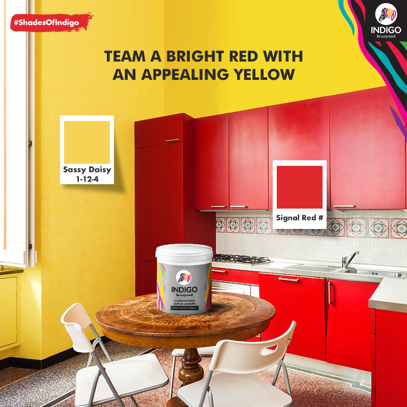 Indigo Paints On Twitter Paint Your Kitchen Cabinets Red To Compliment Yellow Walls For A Bright And Happy Kitchen Select The Best Shades From Indigopaint S Extensive Shade Card Shadesofindigo Besurprised Https T Co Sy7jmwelam