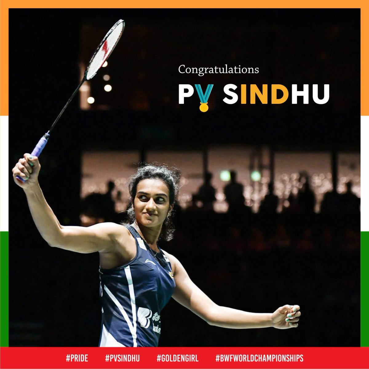 Congratulations @Pvsindhu1  on becoming the first Indian to be crowned as the world champion at #BWFWC2019.  . . #proudindian #pride<br>http://pic.twitter.com/i847xr3PhS