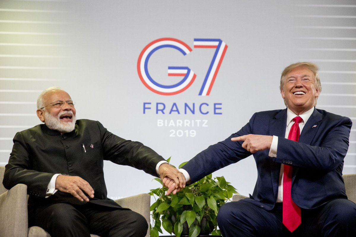 President Trump had great discussions with @PMOIndia yesterday in France at #G7Biarritz.  He congratulated PM Modi on his election victory, and discussed a range of issues, including trade, military cooperation, Kashmir, and Afghanistan. #G7 <br>http://pic.twitter.com/9mJ7JO0ja8