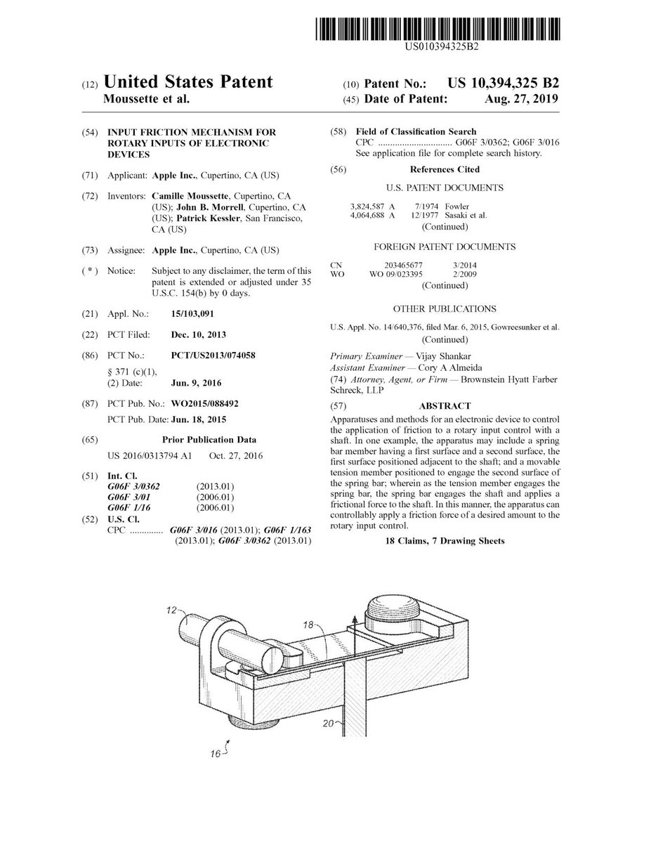 $AAPL #patent 10,394,325 Input friction mechanism for rotary inputs of electronic devices #tech #IP #research https://t.co/XBsd6qOxm4 https://t.co/1ZG996xN5O