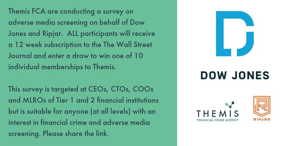 Themis FCA are conducting a survey on adverse media screening on behalf of Dow Jones and Ripjar.  ALL participants will receive a 12 week subscription to the The Wall Street Journal and enter a draw to win one of 10 individual memberships to Themis.  https://t.co/x55ISA1jHW https://t.co/GVnhEohP4Q