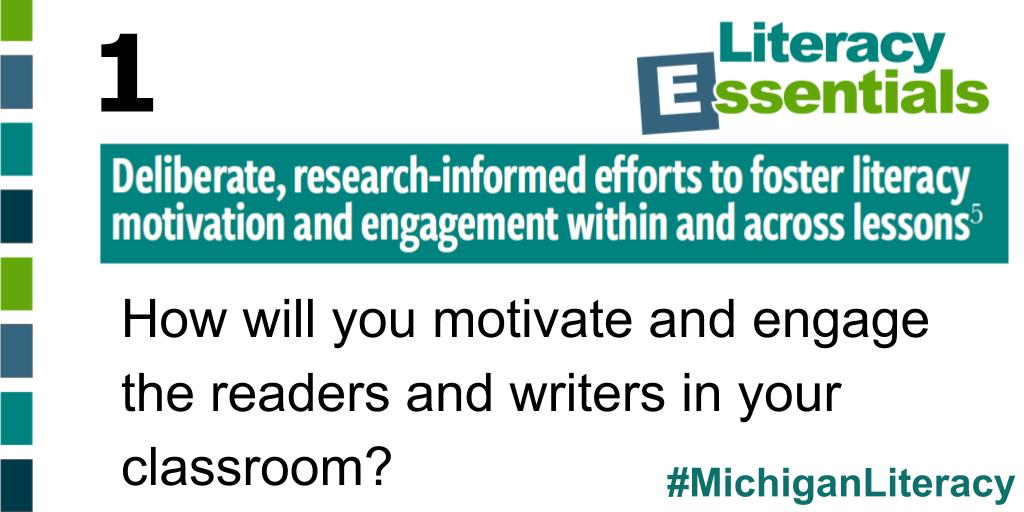 Q1: How will you motivate and engage the readers and writers in your classroom? #MichiganLiteracy<br>http://pic.twitter.com/v1sL6vZz5A