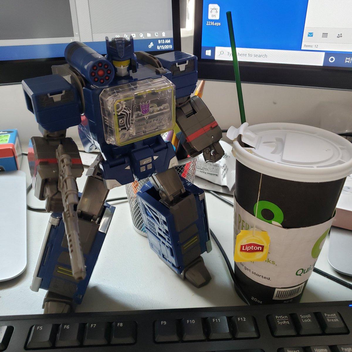 Boombox #deskbot and tea. I miss coffee..