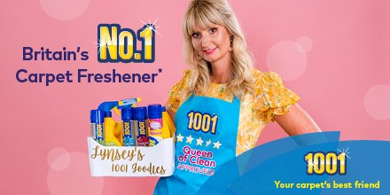 """Enter the #Queenof1001 competition! Just fill in the blanks """"I am the Queen/King of.....""""   3 lucky winners can win a cleaning basket full of 1001 products, an apron (all personalised!!!) and a signed copy of @QueenofcleanUK book! Read T&Cs and source:  https:// 1001carpetcare.co.uk/competitions/w in-personalised-prize-1001-queen-of-clean/  … <br>http://pic.twitter.com/wYL0osmV0N"""