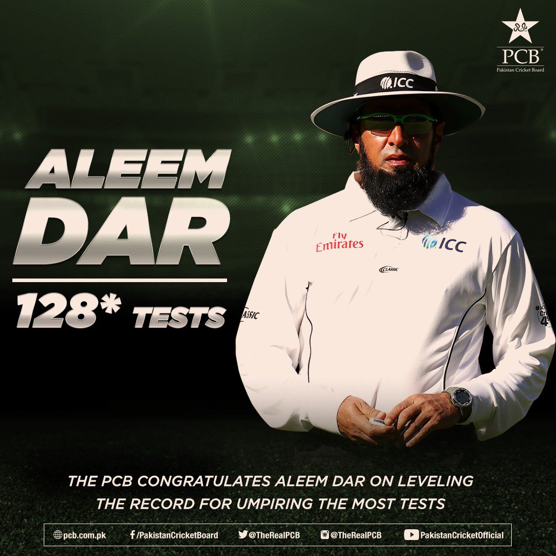 The PCB congratulates Aleem Dar on leveling the record for umpiring the most Tests. 👏🏼