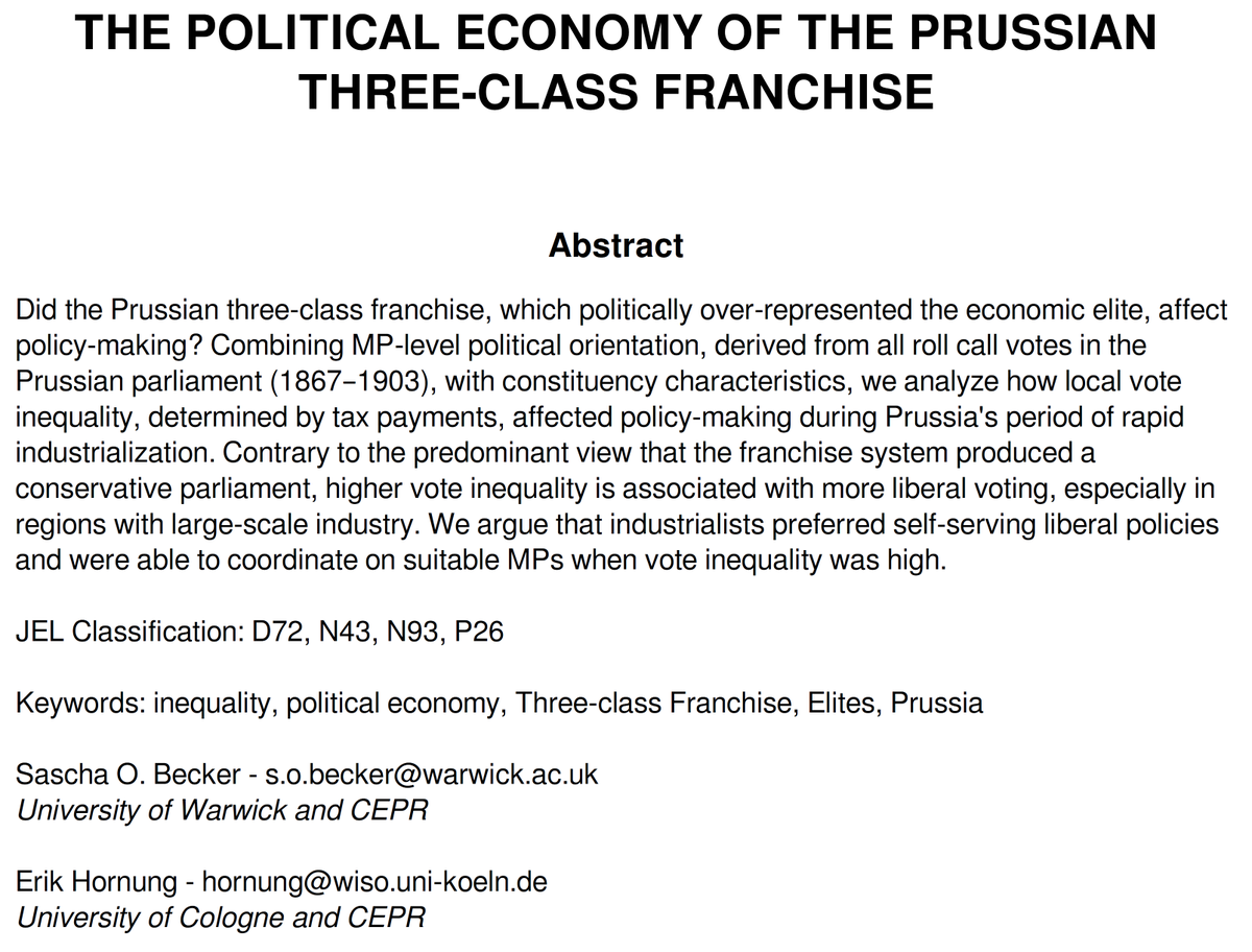 Check out or new @cepr_org DP titled 'The Political Economy of the Prussian Three-class Franchise' (with @essobecker). #TwitterStorians #PoliSciTwitter #EconTwitter   http:// cepr.org/active/publica tions/discussion_papers/dp.php?dpno=13930   …   Ungated version here:  https:// drive.google.com/file/d/1pF2qeO M8xn5zOBmmW9HAk2U9M2JLujlC/view   … <br>http://pic.twitter.com/fz3axBTx8y