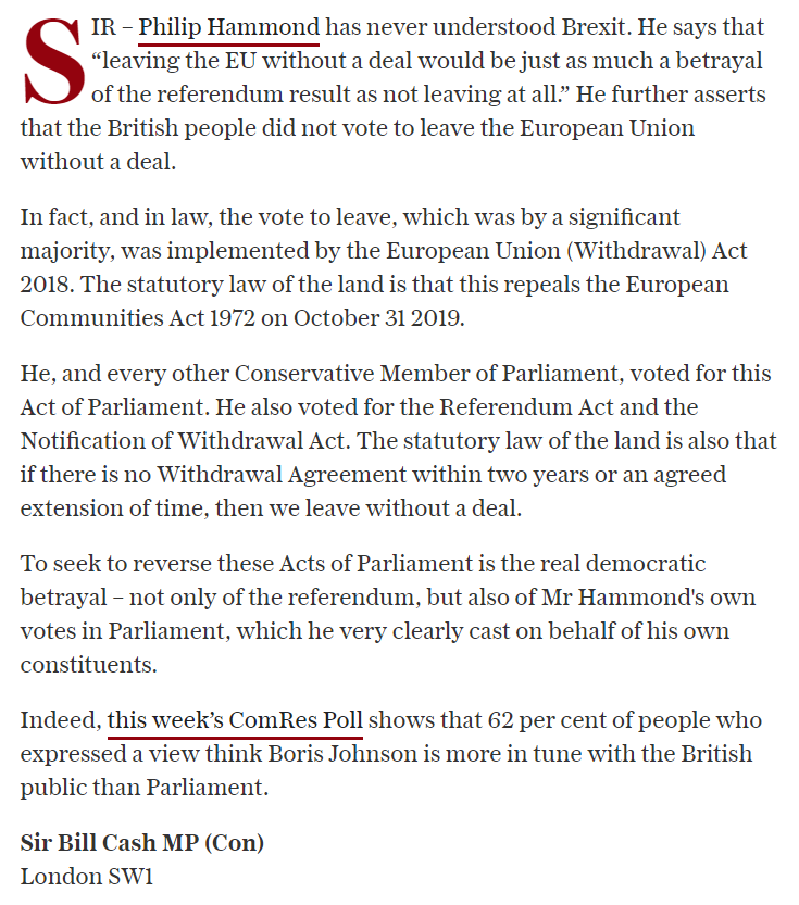 Philip Hammond is seeking to reverse the very Acts of Parliament he voted for - that is the real democratic betrayal telegraph.co.uk/opinion/2019/0…
