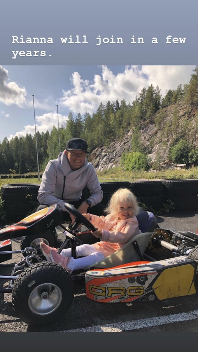 Raikkonen on Instagram giving his son Robin a go in a kart and talking about giving daughter Rianna a run too.