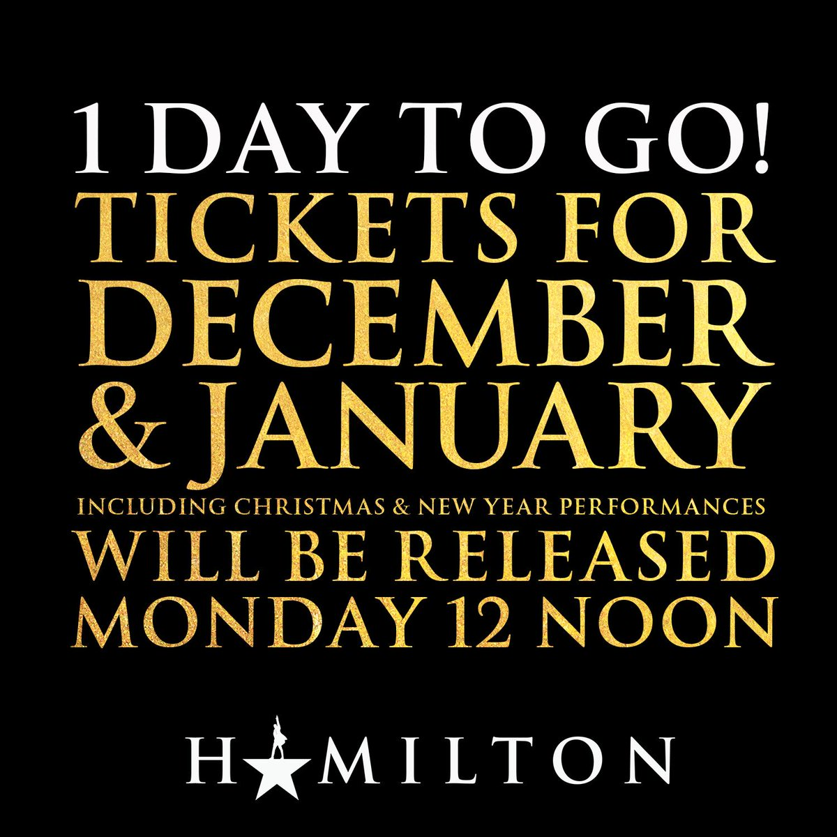 #HamiltonLDN tickets for December 2019 & January 2020 including Christmas and New Year performances will be released tomorrow at 12 noon.
