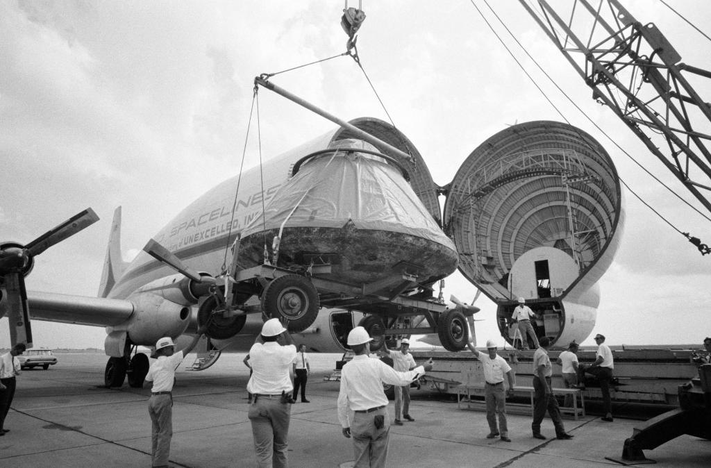 """The Apollo 11 astronauts weren't the only ones traveling across the country after quarantine. #OTD in 1969, the command module was loaded into the """"Super Guppy"""" at @EdwardsAFB to go to Downey, California.   #Apollo50th <br>http://pic.twitter.com/RD88ZOCNJh"""