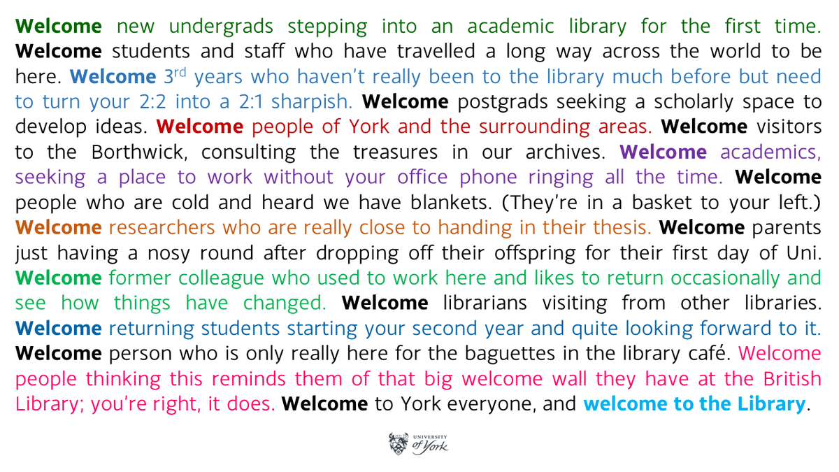 I'm thinking of displaying this on the digital screen as you enter the library.   (Massive hat-tip to the @britishlibrary from whom this idea was taken wholesale.)   I like it.