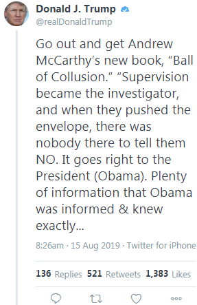 Trump promotes Andrew McCarthys book 11 hours after McCarthy says Trumps Hong Kong response might make him vote Democratic for the first time since 1992.