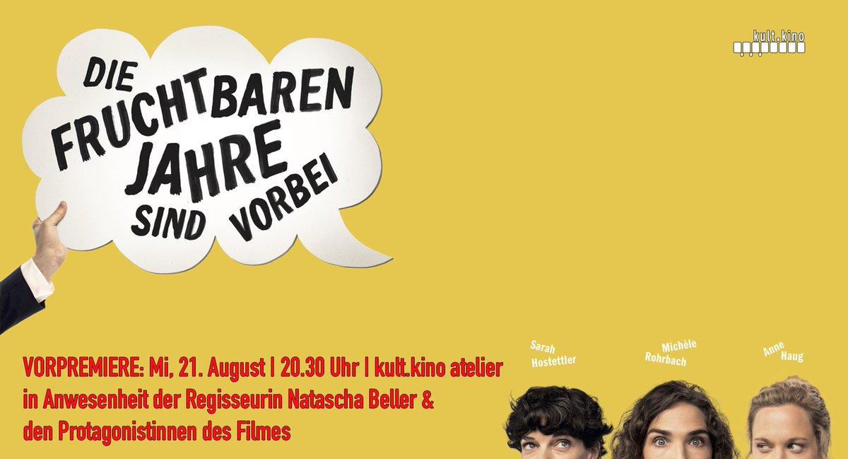 Die Schweizer Komödie erzählt pointiert, lustig und herrlich schräg die (Leidens-)Geschichte dreier Freundinnen über 30. #DieFruchtbarenJahreSindVorbei - #Vorpremiere: Mi, 21. August 2019 | 20.30 Uhr | @kultkino atelier | mit Regisseurin #NataschaBeller - https://www.kultkino.ch/film/fruchtbarenjahresindvorbei/…pic.twitter.com/KaB7TGim6j