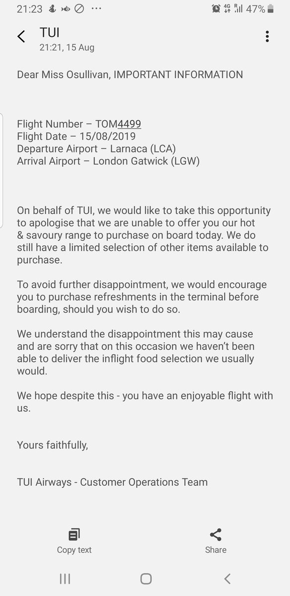 Add insult to injury two and a half hour delay and now this @TUIUK<br>http://pic.twitter.com/d41wspLfGG