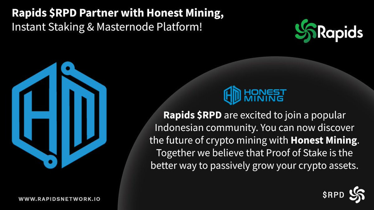 Happy to have #RPD on Honest Mining Platform. Join our AMA with @RapidsRPD on Honest Mining Telegram Group, Tuesday, 20th Aug 2019, 7.00 AM (UTC). Don't Miss it! https://t.co/iXMoO5ykHk