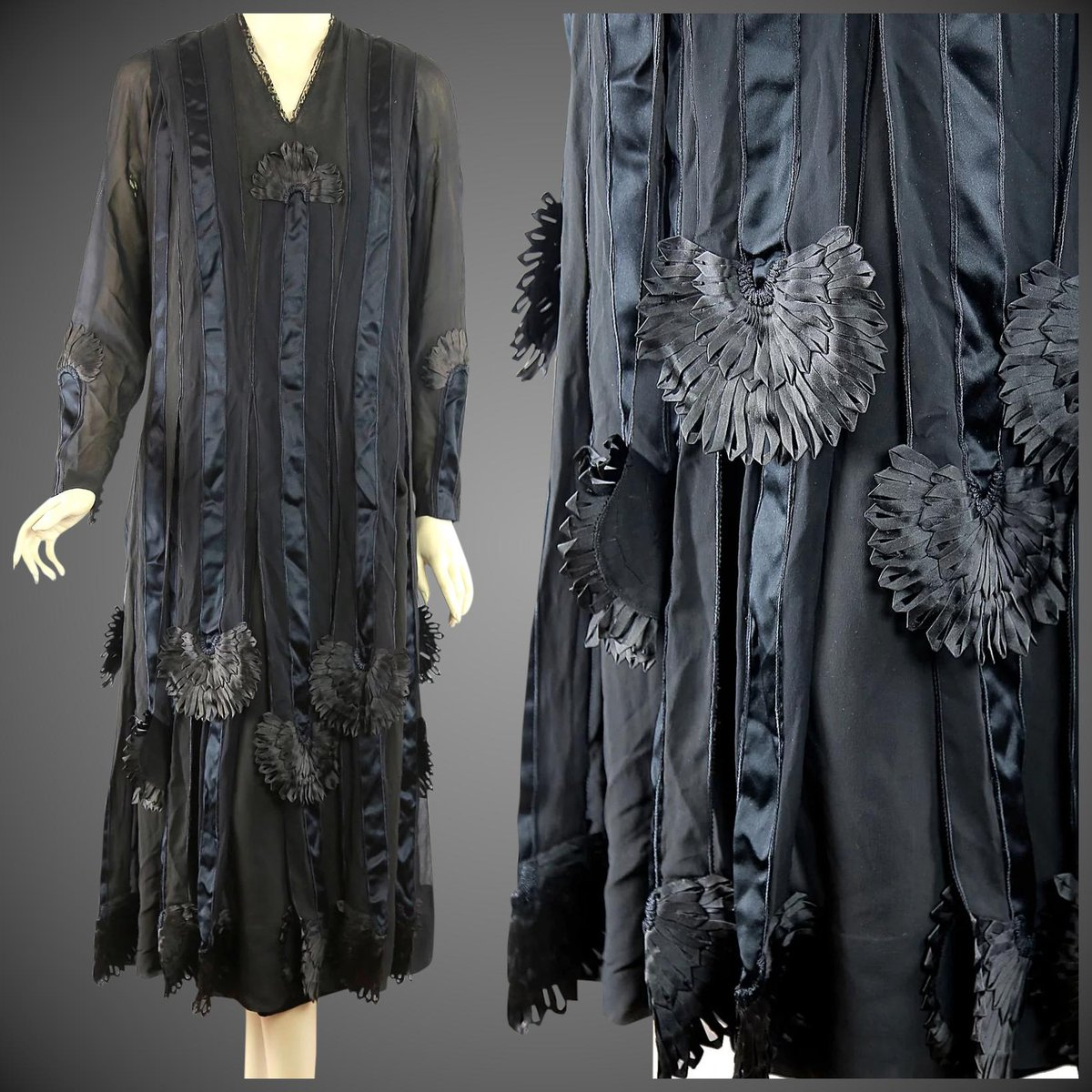Made for the most elegant of New York witches by William Hardy of 50 W 57th St, a 1920s silk & chantilly lace dress, elaborately decorated with twenty-two incantatory, crow-drooped flowers shaped from the finest ribbon-work. <br>http://pic.twitter.com/qA4mlbNZBg