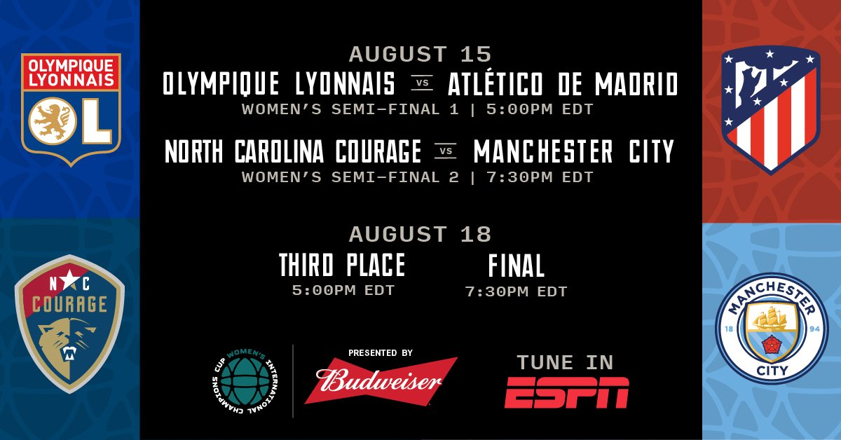 ICC TV Schedule:  Atletico de Madrid vs Lyon- ESPN+  NC Courage vs Man City- ESPN+  Third Place Match- ESPN+  Championship- ESPN2  #NoFinishLine<br>http://pic.twitter.com/heGJbbWFNg