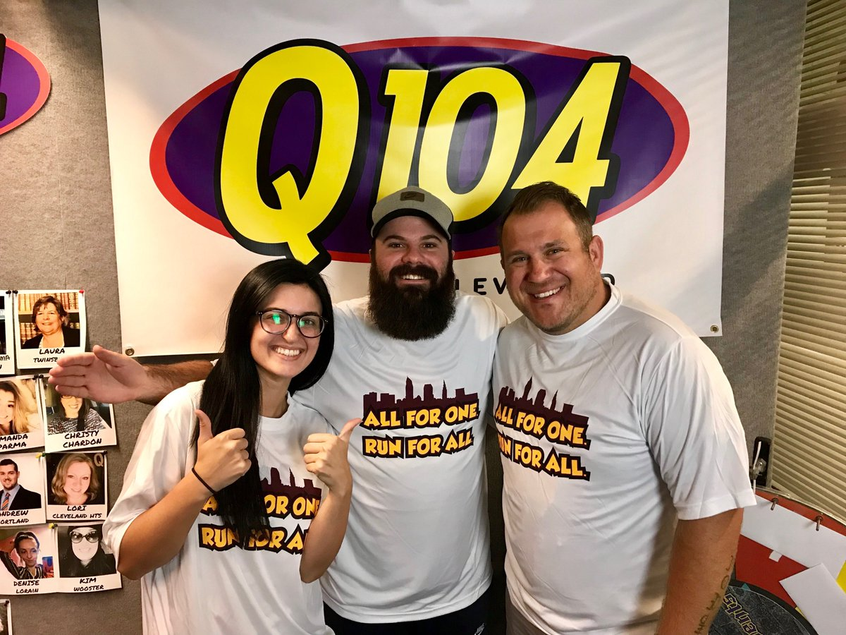 All For One. Run For All! We had so much fun talking about the 4th Annual @cavs and @monstershockey Community Run: Back to School Edition coming up THIS SATURDAY. Thanks for having us and rocking our gear, @Q104Cleveland @Star102CLE 👟 Register: bit.ly/2IOPuIf