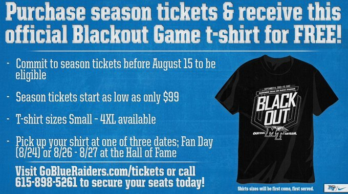 Today is the LAST DAY to receive a FREE Blackout Game t-shirt with purchase of @MT_FB season tickets! We also just released a few new seats (incl 50 yd. line chair backs) for purchase, so check out the link below to find the best seats for you! oss.ticketmaster.com/aps/mtsu/EN/bu…