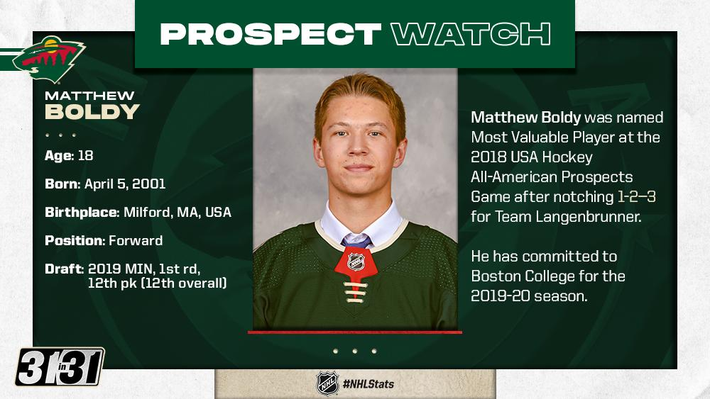 Keep your eye on Matthew Boldy and the rest of these @mnwild prospects. More top prospects: bit.ly/2Z3lbnu #NHLStats #31in31