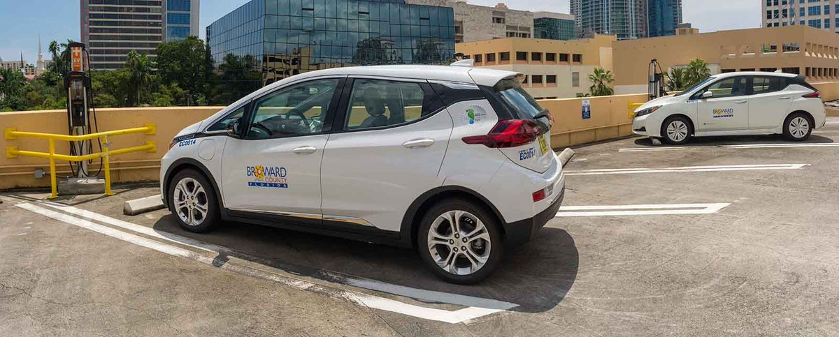 We are excited to have a @chevrolet Bolt and a @NissanUSA Leaf in our #EV family, and now @ChargePointnet chargers!  #ResilientBroward<br>http://pic.twitter.com/iaAWA2Q0Ud