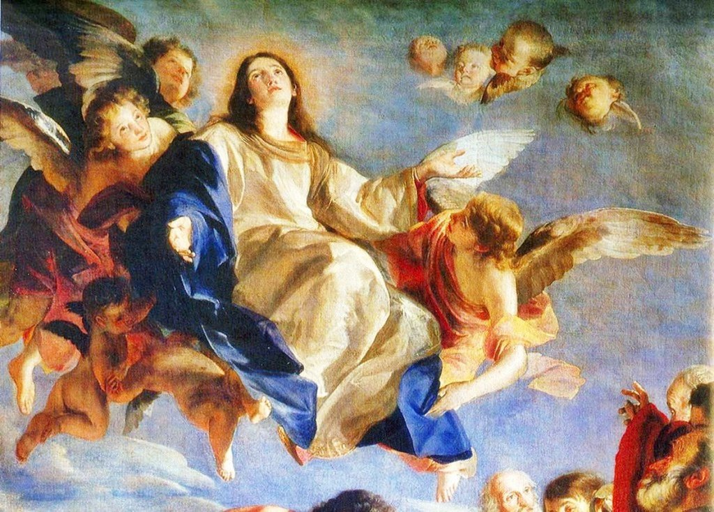 """""""The Immaculate Mother of God, the ever Virgin Mary, having completed the course of her earthly life, was assumed body and soul into heavenly glory""""  1 Nov1950, in the Apostolic Constitution Munificentissimus Deus Pope Pius XII declared the Assumption of Mary as a dogma  #Catolic<br>http://pic.twitter.com/P3ShOOnHvC"""