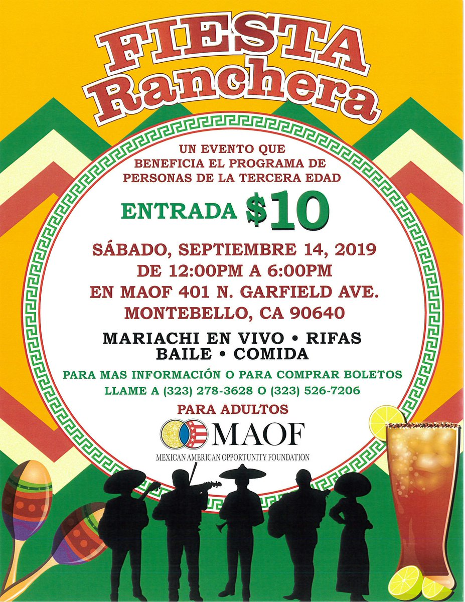 """""""Senior Program will be celebrating Mexican Independence day on September 14th , 2019, a friendly fundraiser event that will contribute to the senior program"""" https://t.co/aZXMjpYL8t"""