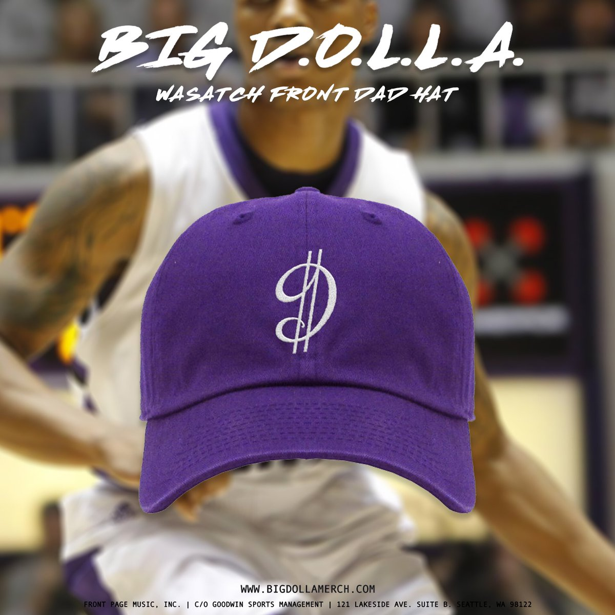 I'm headed to @weberstate next week for the @WeberStateMBB alumni game, so I created a Bleed Purple/Wasatch Front colorway of my D$ logo dad cap for all the Weber folks looking to support #BigDOLLA. Hit http://BigDOLLAmerch.com to get the bundle!