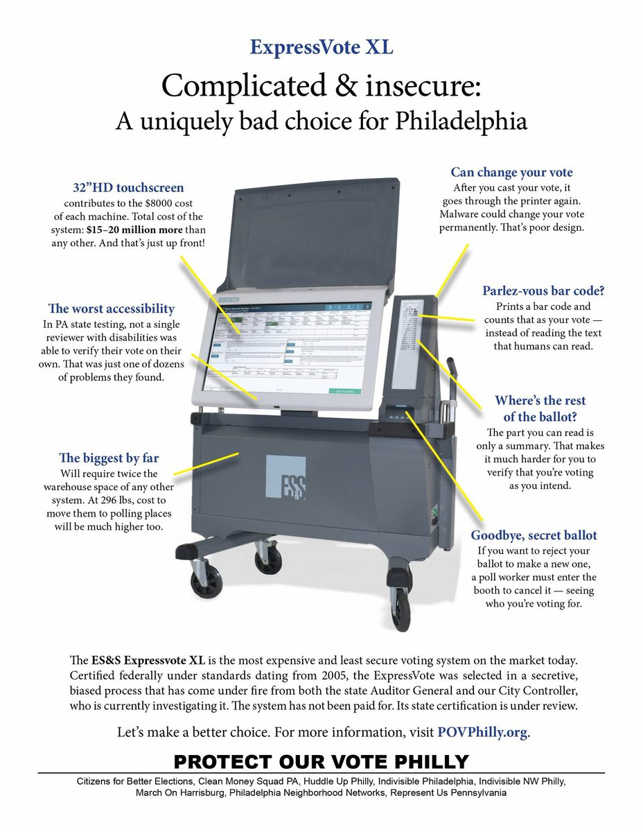 This is why we need to void the contract with the ExpressVote XL voting machines and #ProtectOurVote here in Philly.