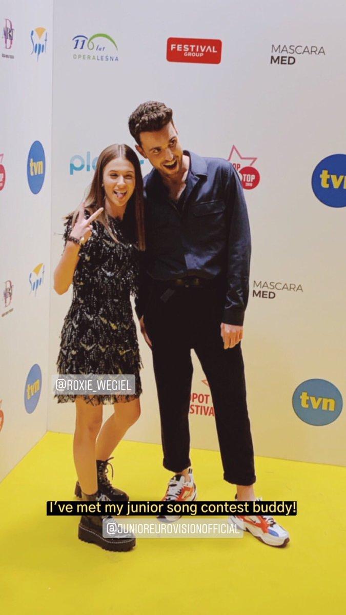 2018 Junior Eurovision birincisi Roksana Węgiel, Duncan Laurence ile Polonyada bir araya geldi.