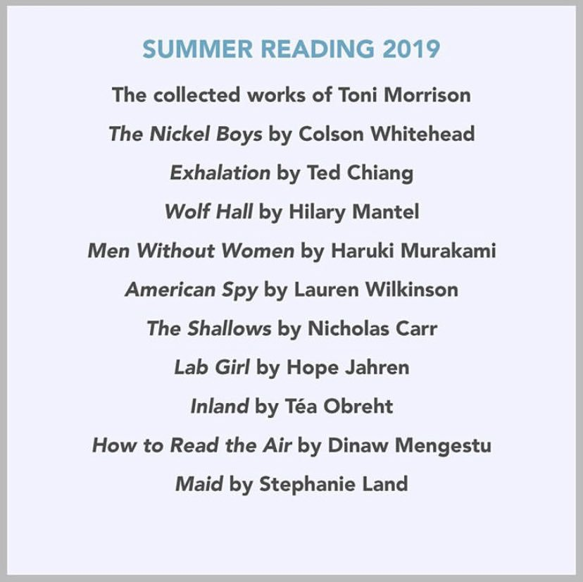 """Thank you for sharing your summer reading list @BarackObama . It has inspired me to share what literature I've been enjoying as well. Check out... 📕Colson Whitehead's """"Nickel Boys"""", 📗Okey Ndibe's """"Foreign Gods Inc"""" 📘Malin Person Giolito's """"Beyond All Reasonable Doubt"""""""