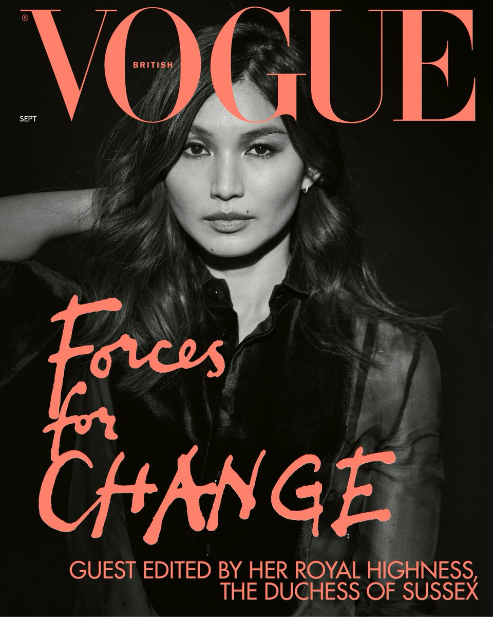 .@Gemma_Chan wears an RL Collection tuxedo shirt and trousers on one of @BritishVogues 15 special digital #ForcesForChange issue covers, guest edited by HRH The Duchess of Sussex.   Photographer: @PeterLindbergh Editor: @Edward_Enninful   #RalphLauren #RLEditorials #RLCollection