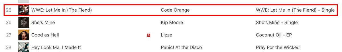 The @iTunes charts have let The Fiend @WWEBrayWyatt and @codeorangetoth in!
