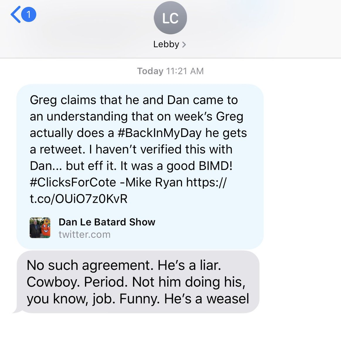 Independent investigation has revealed @gregcote lied to me about the deal he struck with Dan. -Mike Ryan