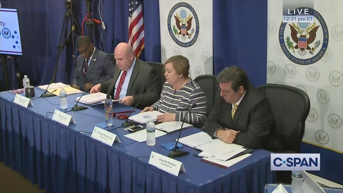 U.S. Election Assistance Commission (@EACgov) Meeting on Security – LIVE on C-SPAN cs.pn/2Z7V7Yi #ElectionPrep19 #TestandCert #2020Focus