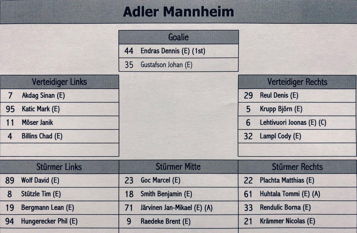 #Lineup Zwei Goalies, vier Verteidigungspaare und vier Sturmreihen - so starten wir in das erste Testspiel der neuen Saison gegen den @ehcbiel. #fürMannheim #thechampionisback #weltklasseeishockeypic.twitter.com/0Rioz6VHtc
