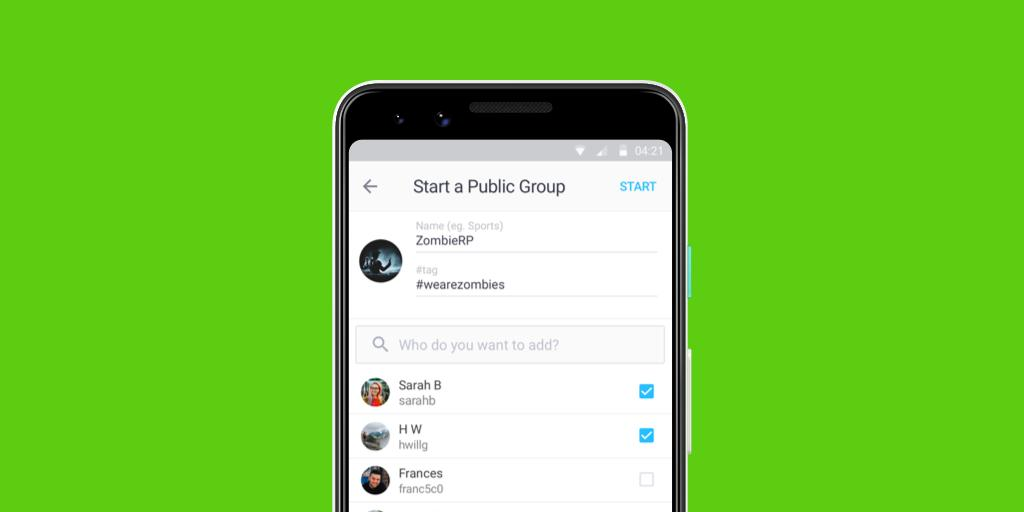 Feel like chatting about a TV show or roleplaying the zombie apocalypse? It's easy to create your own Public Group! Just tap the + menu on the home screen, select Public Groups, then tap the + again to start your own! 🧟♀️ https://t.co/r6kRCpuqrZ