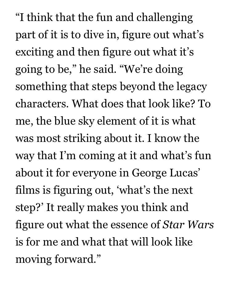 """Rian Johnson on his new Star Wars trilogy. """"We're doing something that steps beyond the legacy characters."""" via: observer.com/2019/08/star-w…"""