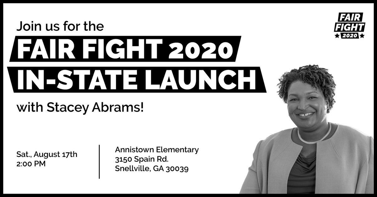 GEORGIA: Join us and our Founder and Chair @staceyabrams this weekend for the launch of #FairFight2020!   Annistown Elementary   Sat., August 17   2 PM   RSVP Here  http:// bit.ly/GAFF2020     <br>http://pic.twitter.com/qPDwlaVqIp