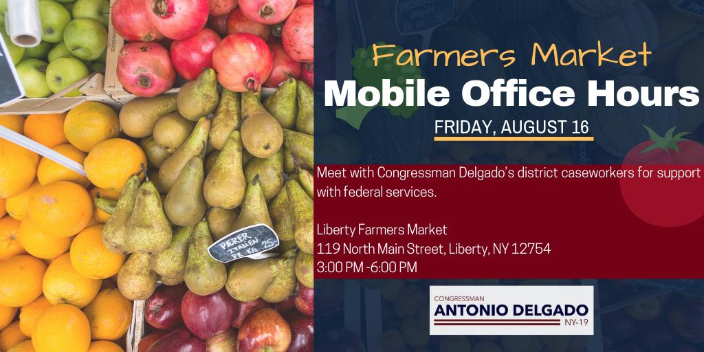 Sullivan County, members of my staff are holding farmers market mobile office hours tomorrow, Friday, August 16 and next Friday, August 25 to answer your questions and assist with casework. Looking forward to seeing you tomorrow!