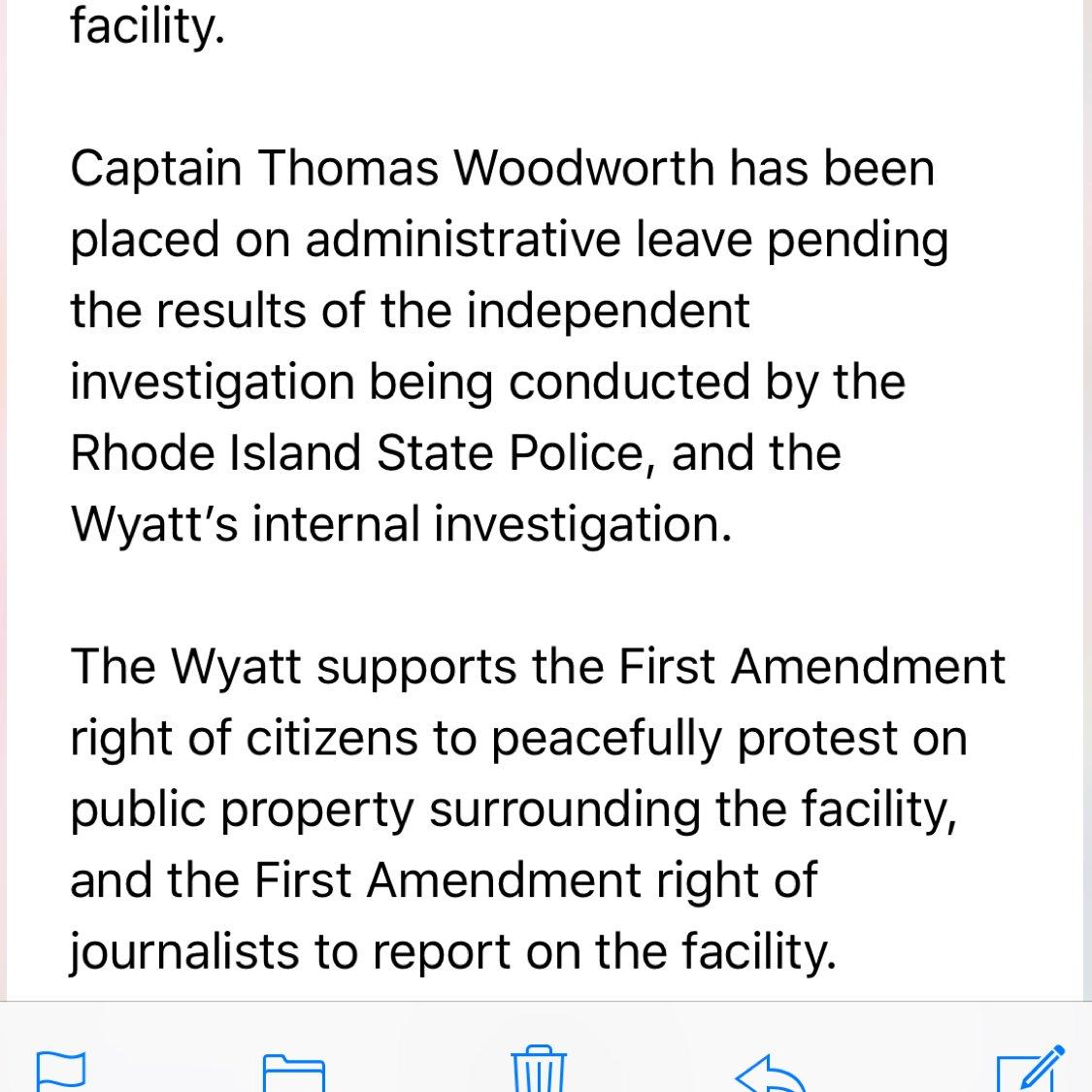 NEW: We just got a statement from the Wyatt Detention Center regarding last nights incident.